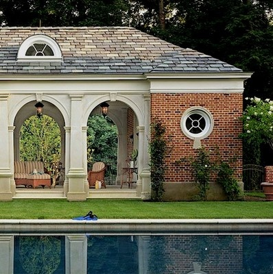 Outdoor relaxation...: Round Window, Pools Pavilion, Pools House, Dreams House, Brick House With Arches, Exterior Pavilion, Gorgeous Pools, Classic Architecture, Pools Design