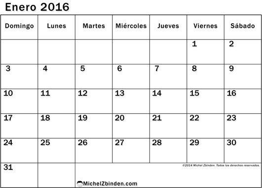calendario enero 2016 para imprimir gratis Ventajoso domingo