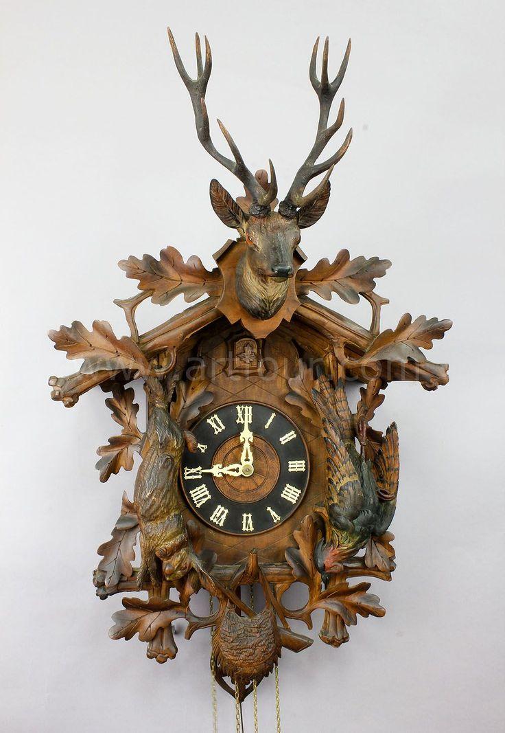 antique black forest carved wood cuckoo clock - Black Forest Cuckoo Clocks