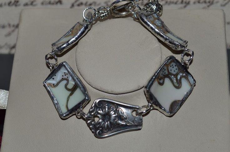 Recycled Broken Vintage Asian & Flatware Jewelry, Floral Bracelet w/ Box #CLyonsDesign #Handmadebracelet