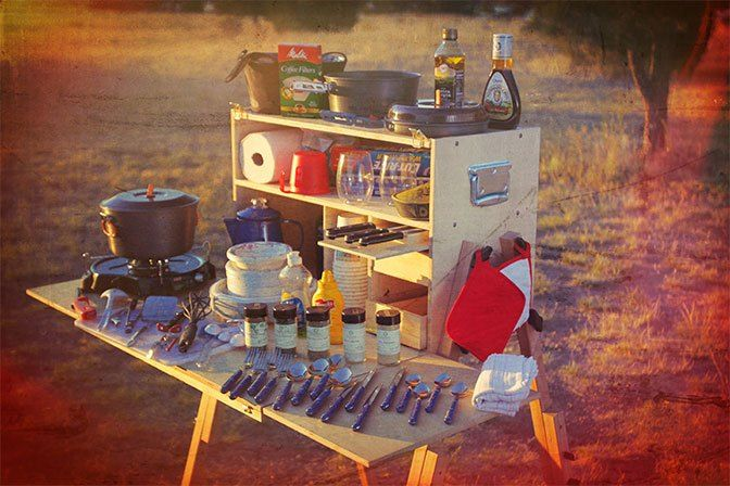 Available in Baltic birch or Okoume plywood, My Camp Kitchen's Outdoorsman portable outdoor cooking chuck box is our toughest, most flexible camp kitchen.