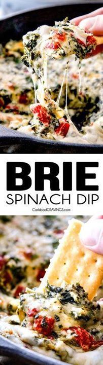 Brie Spinach Dip - M Brie Spinach Dip - My friends could not get...  Brie Spinach Dip - M Brie Spinach Dip - My friends could not get over this appetizer! Its your favorite spinach dip made even more delicious with BRIE! Creamy cheesy and so addicting! Recipe : http://ift.tt/1hGiZgA And @ItsNutella  http://ift.tt/2v8iUYW