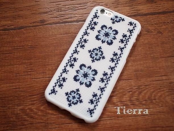 クロスステッチ刺繍*iPhone6ケース《北欧ネイビー》画像1