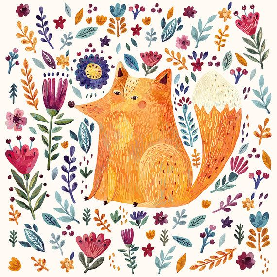 Amazing colorful Art Print with cute Fox and by MoleskoStudio