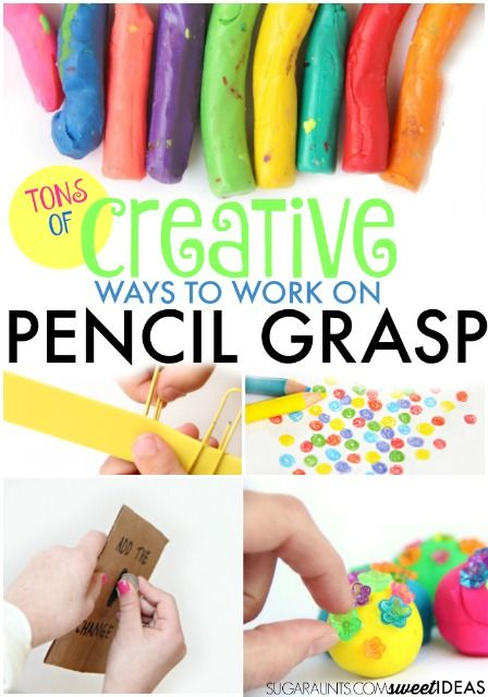 Creative ways to build and work on a functional pencil grasp, for related pins and resources follow https://www.pinterest.com/angelajuvic/autism-special-needs/
