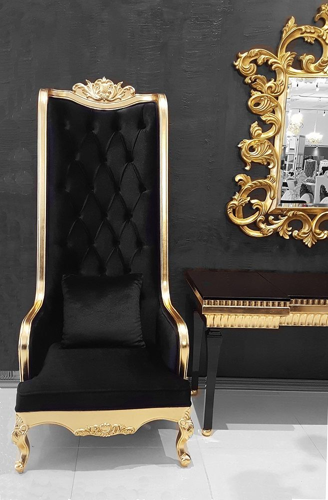 High Back Chair King Throne Black And Gold Rustic Living Room Furniture Luxury Furniture Gold Furniture