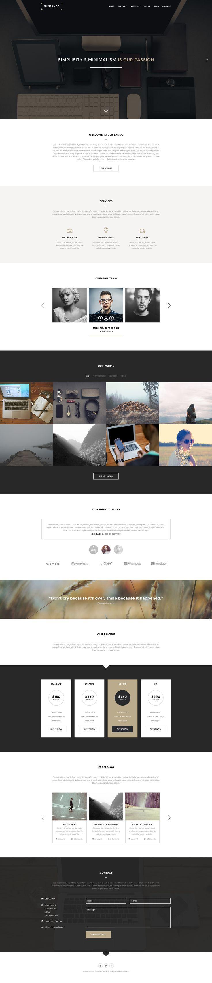 Glissando – Creative Minimal Onepage PSD Template