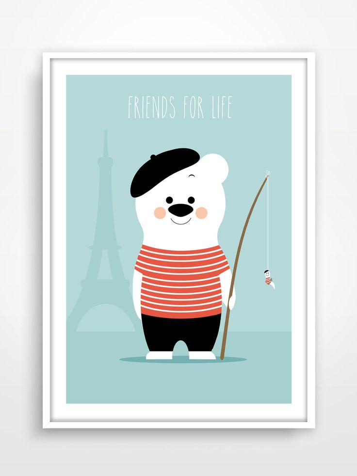Affiche/Poster/Print * Ours rétro / Vintage / Bear / Paris / Mint / Illustration : Décoration pour enfants par pagaille-et-cie