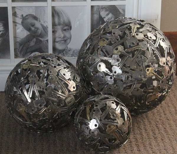 large and small decorative balls made of keys, recycled crafts