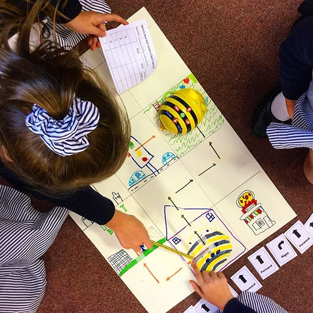 Bee Bot Lesson Idea: Investigating the most efficient route. Children lay an algorithm using the instruction cards and program it into the Bee Bot to follow the red route then the black route. Both end up at the same destination, but the one that uses the least amount of cards is the most efficient! #BeeBot #Algorithm #Program #Programming #Coding #Computing #RedRoute #BlackRoute #Investigation #BeeBotMap #BeeBotLesson #PrimaryTeacher #PrimaryComputing #TeachComputing #TeachCoding…