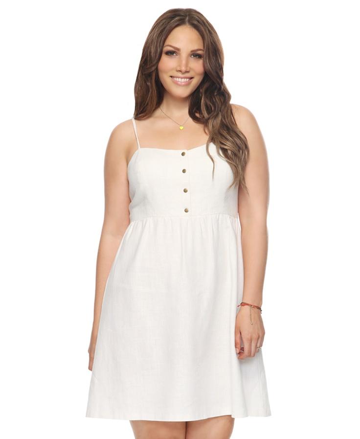 White Cutout Back Linen-Blend Dress