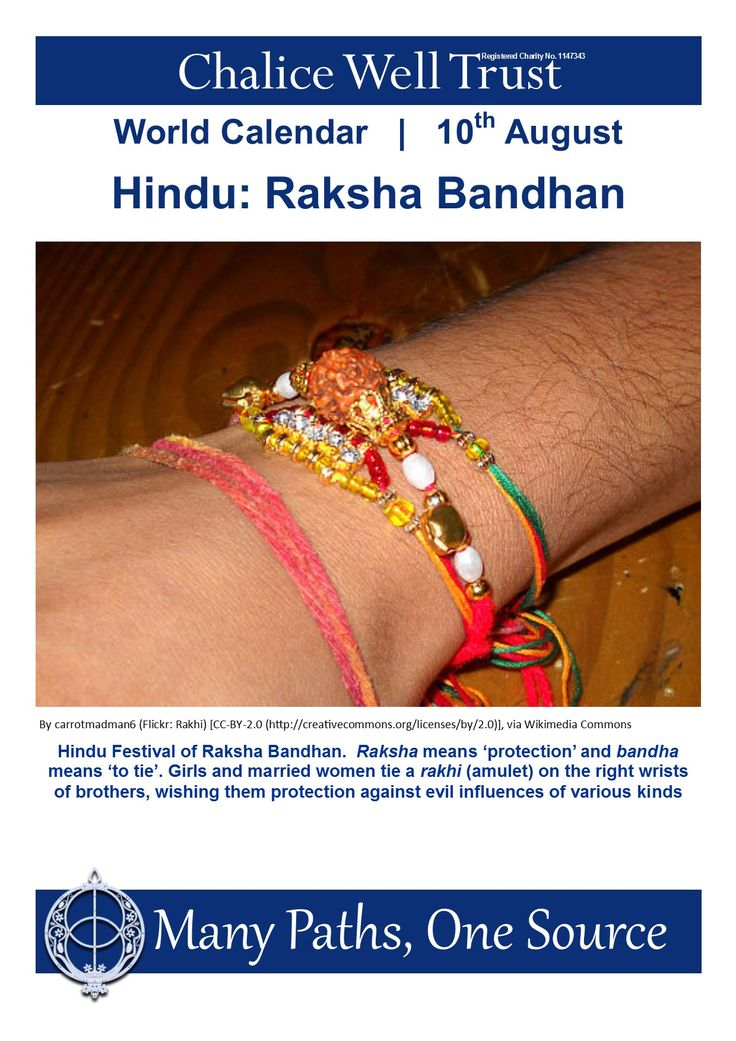 Hindu Festival of Raksha Bandhan. Raksha means 'protection' and bandha means 'to tie'. Girls and married women tie a rakhi (amulet) on the right wrists of brothers, wishing them protection against evil influences of various kinds.