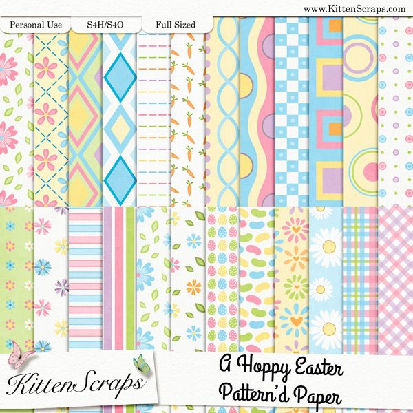A Hoppy Easter Paper Pack-Patterns  created by KittenScraps, Digital Scrapbooking