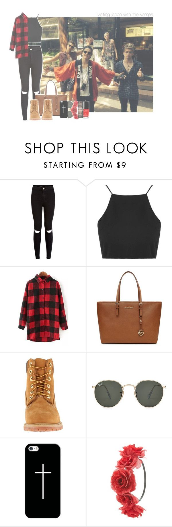 """visiting japan with the vamps"" by rosa-brooks ❤ liked on Polyvore featuring Topshop, MICHAEL Michael Kors, Timberland, Ray-Ban, Casetify, Charlotte Russe and Chanel"