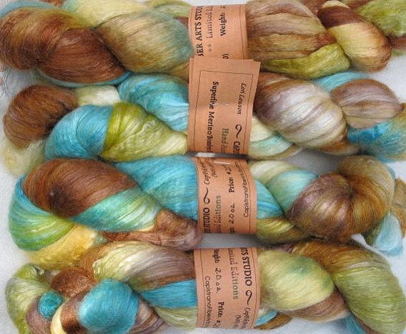 Handpainted Roving  Merino Wool and Silk by CapistranoFiberArts, $20.00