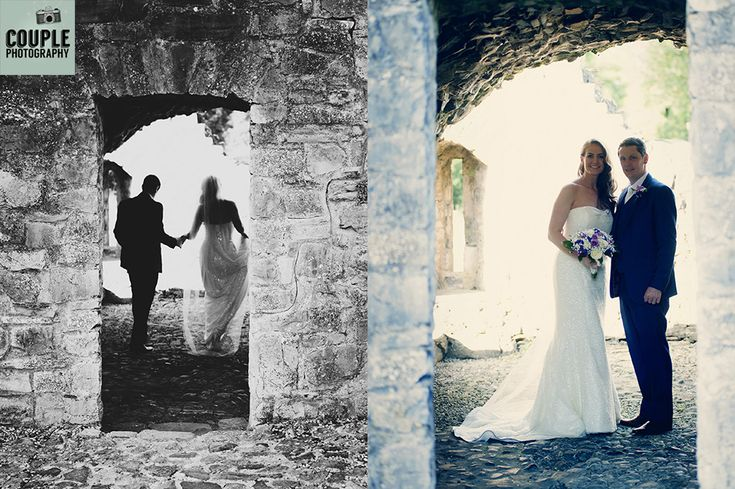 The couple silhouetted at the ruins near Knightsbrook Hotel. Weddings at The Knightsbrook Hotel Photographed by Couple Photography.