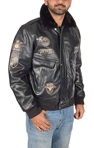 Hombre Cuero Aviador Volador Piloto Bomber Chaqueta de la Fuerza Aérea  Estilo Asher Negro 14f2e0fd288b