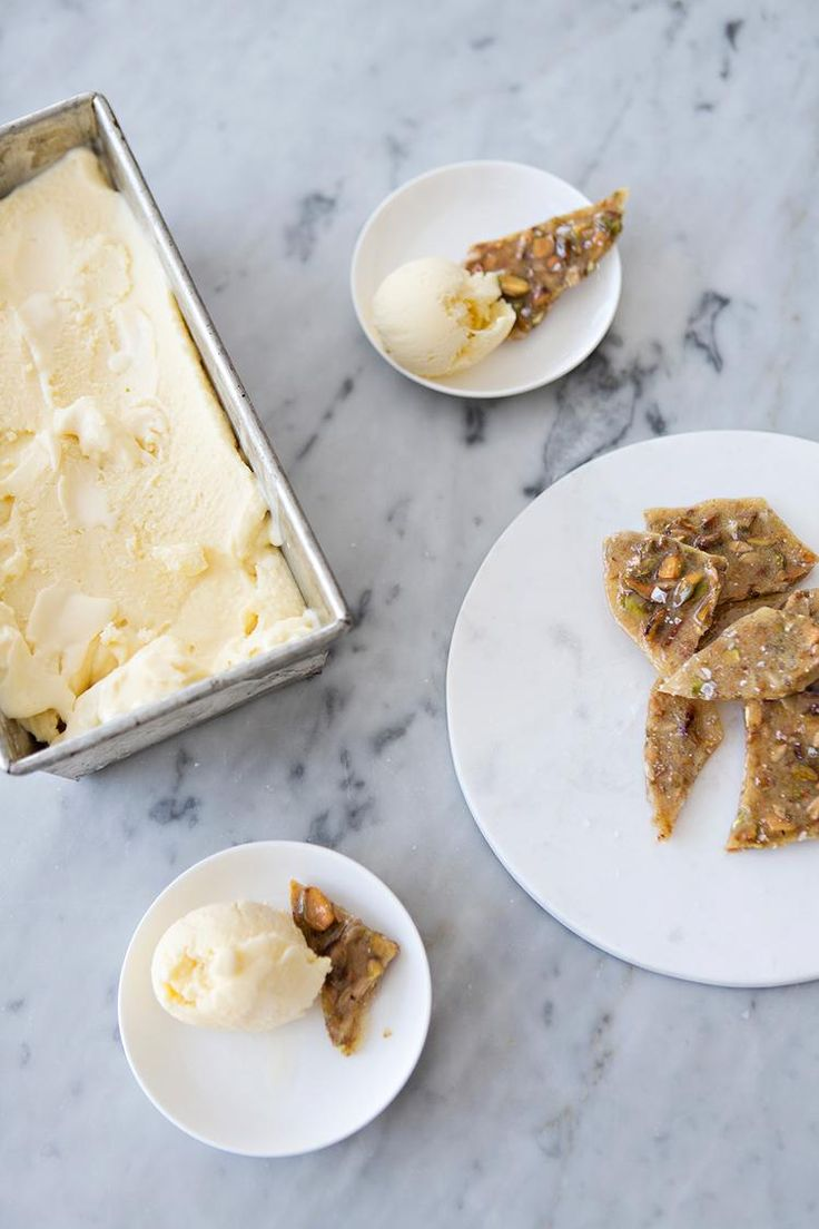 Goat Cheese Ice Cream + Salted Pistachio Brittle