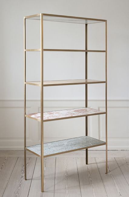 Muller Van Severen, Contemporary, Belgium Shelves in different marble sorts. Brass rack. H190 x D37,5 x W90cm