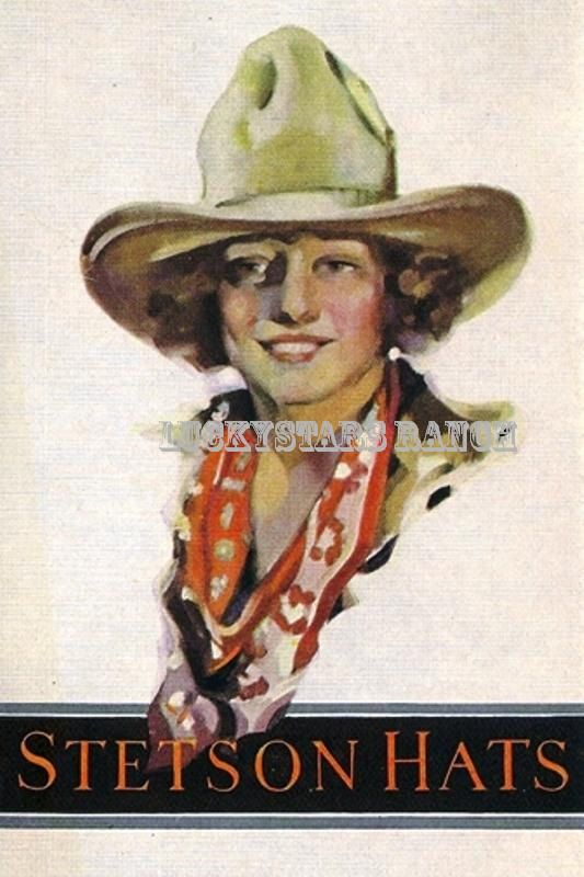 Cowgirl Cowboy Stetson Hat Cowgirl   Vintage Print