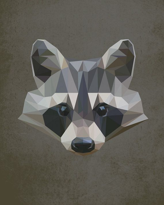 Racoon, Geometric, Poly, Polygon, Poster, Art, Illustration, Hiking, Forest, Kid Nursery, Bird, Shapes, Green, Home Decor [NO 004] by IronBrothers17 on Etsy