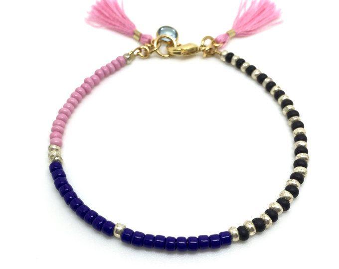 Multicolor Perlen Armband rosa Freundschaft Armband zarte Quaste Armband Swarovski Armband zierliche Schmuck Charm Armband Geschenk für Sie