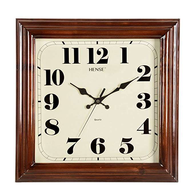 Hense Solid Wood Square Wall Clocks Silent Mute Quartz Movement Sweep Second Hand Clock Best Decor For Home Kit Wall Clock Silent Wall Clock Square Wall Clock