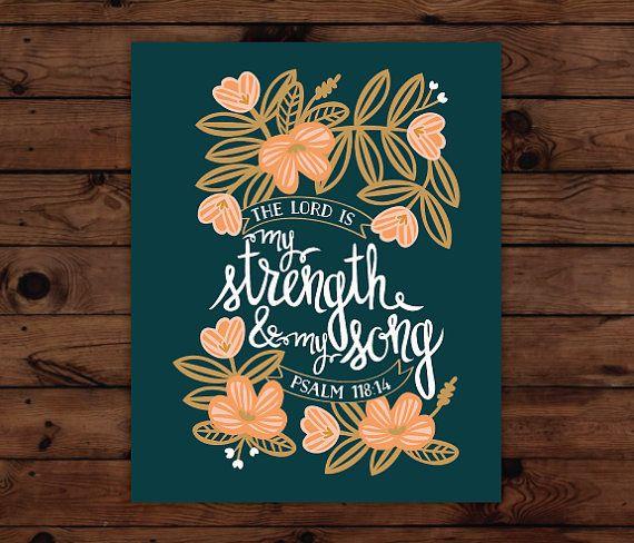 Psalm 118:14 Print by FrenchPressMornings on Etsy