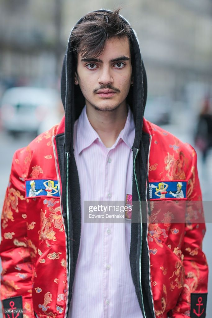 Ethan Fellous wearing an Atelier beaurepaire full outfit before the Etudes show during Paris Fashion Week Menswear Fall Winter 2016/2017 on January 23, 2016 in Paris, France.