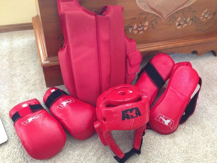 ATA Taekwondo Sparring Gear Set with Helmet, Gloves, Foot Guards and Chest Guard #ATA