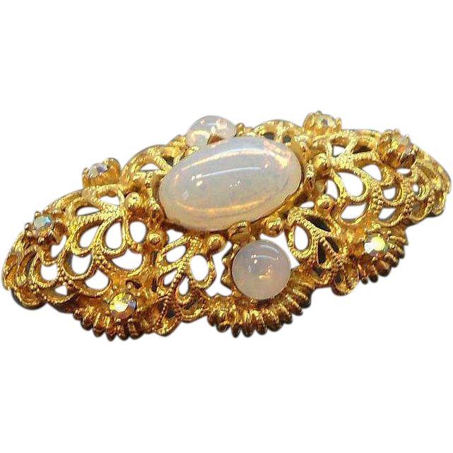 Vintage Goldtone Metal Brooch Opalescent Glass Stones  Aurora Rhinestones. found at www.rubylane.com #vintagebeginshere