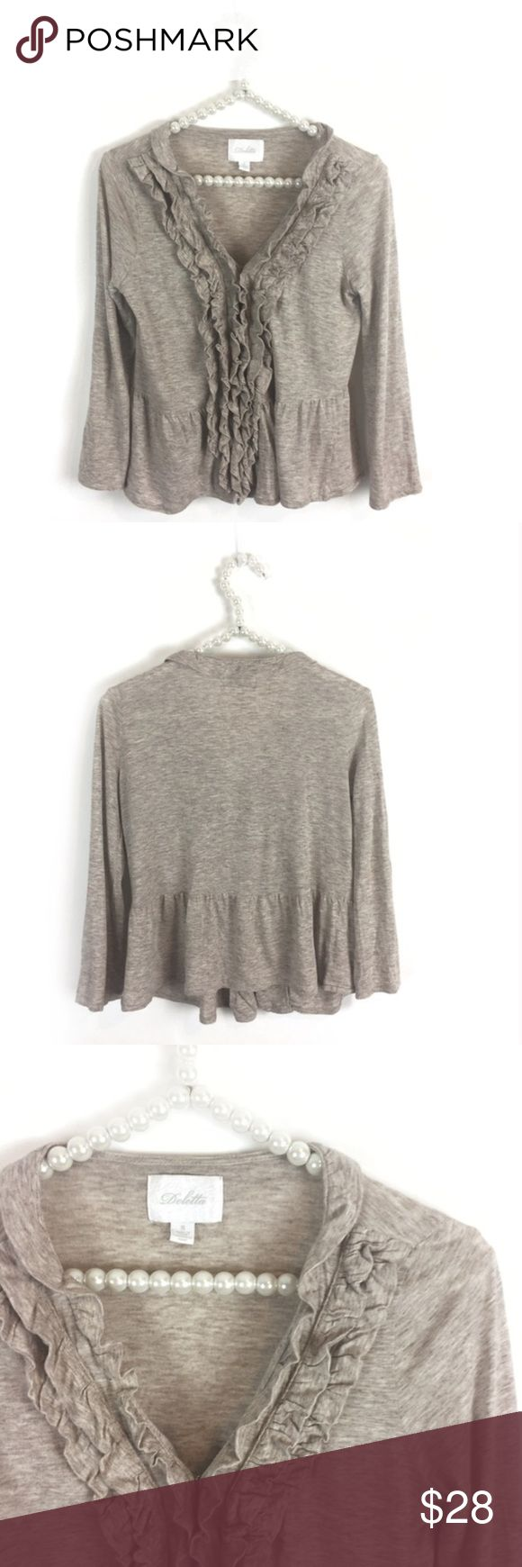 Anthropologie's Deletta Ruffled Peplum Cardigan Lightweight beige Ruffled Peplum Cardigan by Anthropologie's Deletta. Front hook & eye closures. (Small spots on front - I think from bleach in machine - in otherwise great condition). Size Small. Anthropologie Sweaters Cardigans