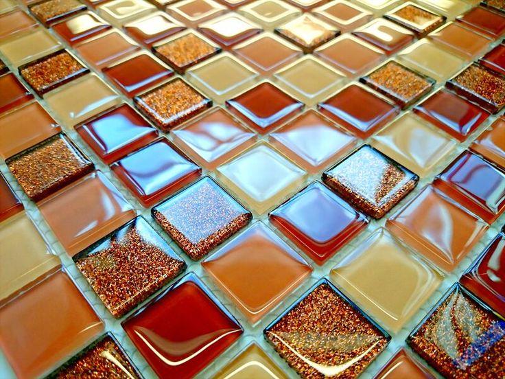 Mozaika szklana brokatowa - Primavera by Fabrizio Moretti - BM122 brązowa beżowa mix