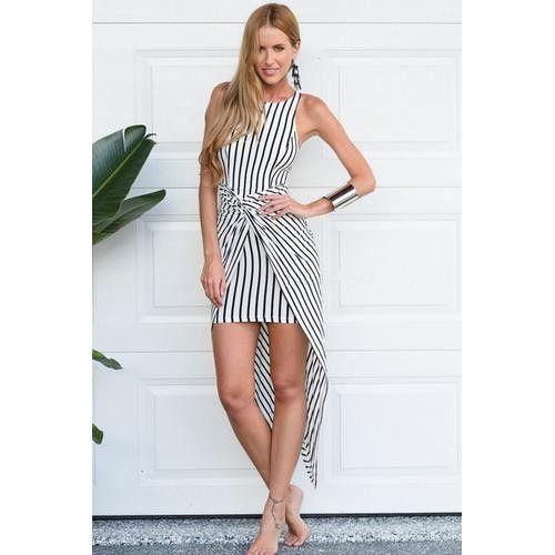 Seductive Women Fringe Irregular Wrinkle Hem I-shaped Bodycon Dress