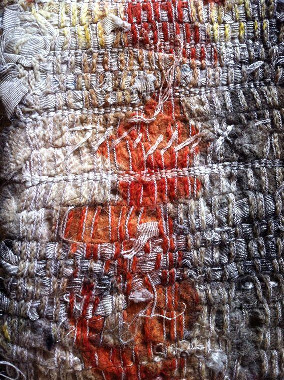 India Flint   weaving with shredded cloth, single-spun wool and plied silk threads