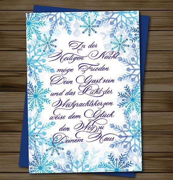 """Weihnachtskarte Kalligrafie """"In der Heiligen Nacht"""" / Christmas greeting card"""