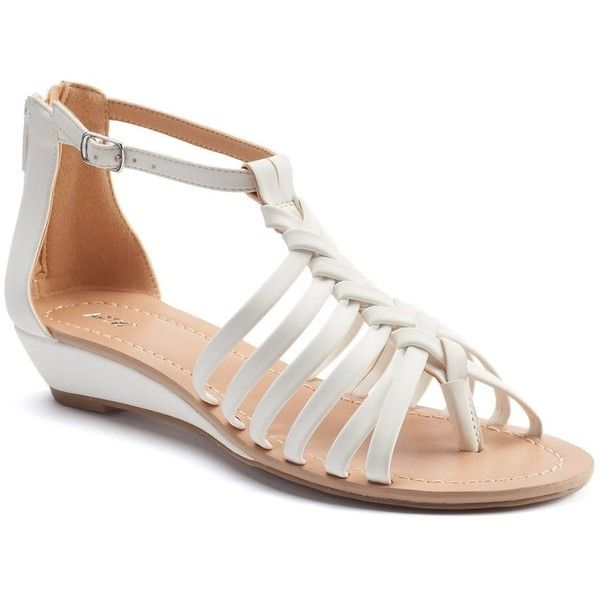 Apt. 9® Women's Braided Demi Wedge Sandals (£30) ❤ liked on Polyvore featuring shoes, sandals, white, wedges shoes, wedge heel sandals, braided wedge sandals, open toe sandals and wedge sandals