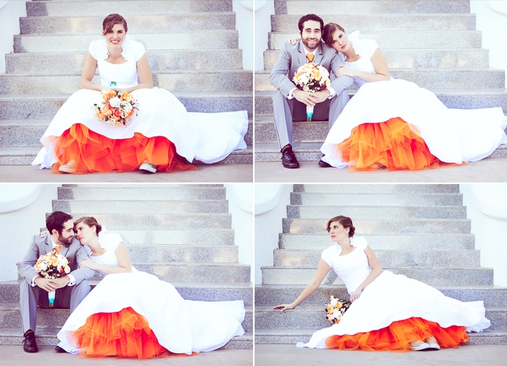 LOVE That She Has Colorful Crinnolins Wedding Dress Orange