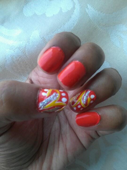 My neon orange nails