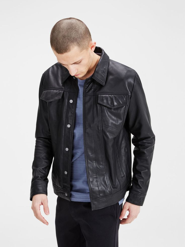 Slim fit trucker jacket for men in genuine lamb leather with chest pockets | JACK & JONES