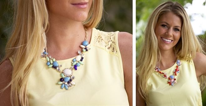 designer inspired crystal drop necklace. today on veryjane.com