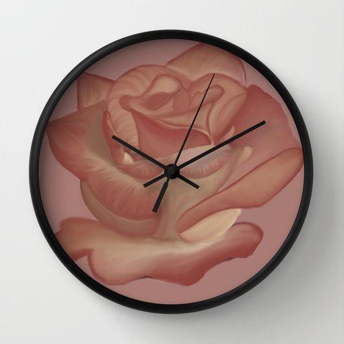 Elegante Pink Rose Wall Clock