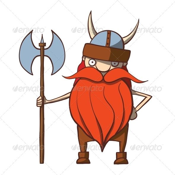 Funny Cartoon Viking with an Axe  #GraphicRiver         Funny cartoon viking…
