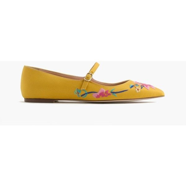 J.Crew Embroidered Satin Mary Jane Flat ($210) ❤ liked on Polyvore featuring shoes, flats, mary jane flats, flat shoes, mary jane flat shoes, j crew flats and flat footwear