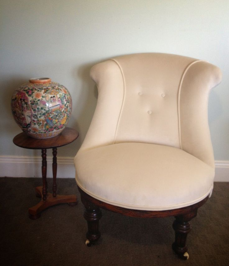 Kate's little nursing chair finished and ready to play!  She's wearing Warwick Fabric. Range: Mystere. Colour: Divine.
