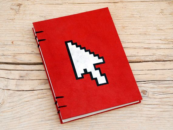 Pointer handmade coptic stitched notebook Red by PiCKEE on Etsy, €13.90