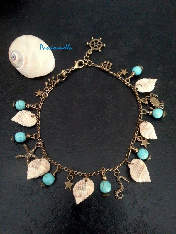 bracelet de cheville océan par Passionella. polymerecreat.fr