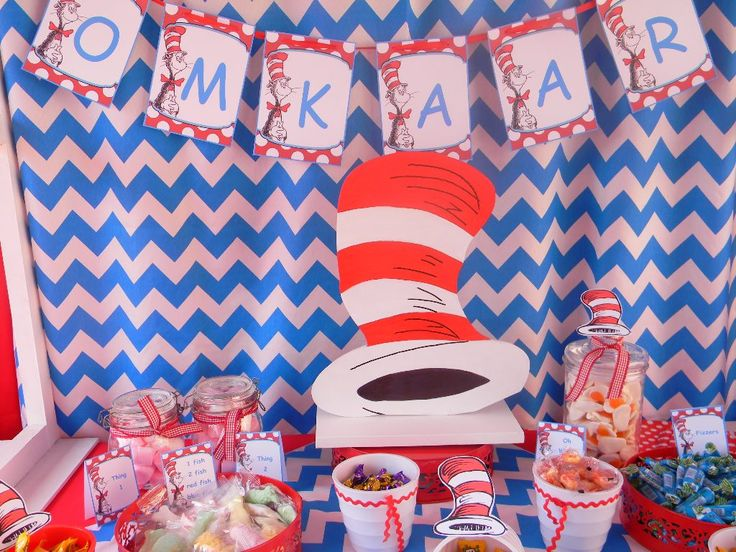 Cat in the Hat Candy Table by Co-Ords Party Boutique