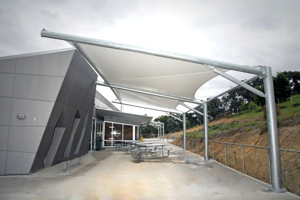 Skillion cantilever, PVC shade structure