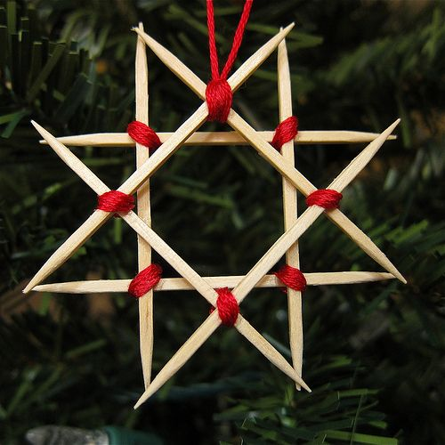 DIY How to make wooden star ornaments out of toothpicks.